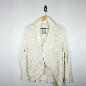 Dolan Anthropologie Sweater Moto Jacket XS Ivory